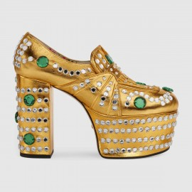 6bc4d349b08 Giày Crystal studded metallic leather loafer