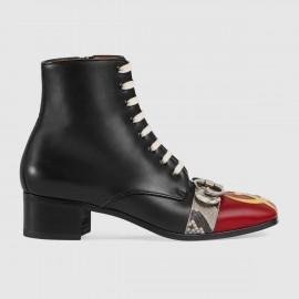 Giày Leather boot with pierced moon