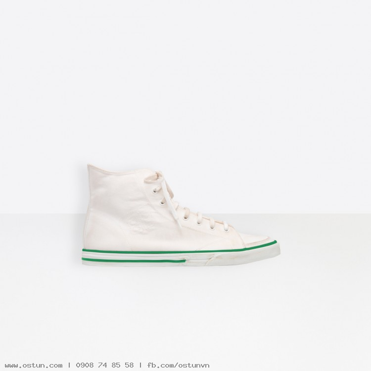 Men's White Match High Trainers